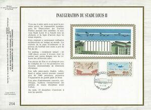 FEUILLET-CEF-1er-JOUR-MONACO-SUR-SOIE-INAUGURATION-DU-STADE-LOUIS-II-1985