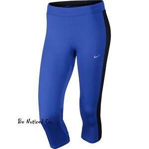 Nike-Essential-Women-039-s-Running-Capris-S-M-Blue-Black-Training-Casual-New