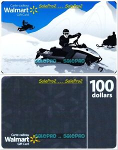 2x-WALMART-CHRISTMAS-100S-GREY-WINTER-SNOWMOBILE-RACE-COLLECTIBLE-GIFT-CARD-LOT