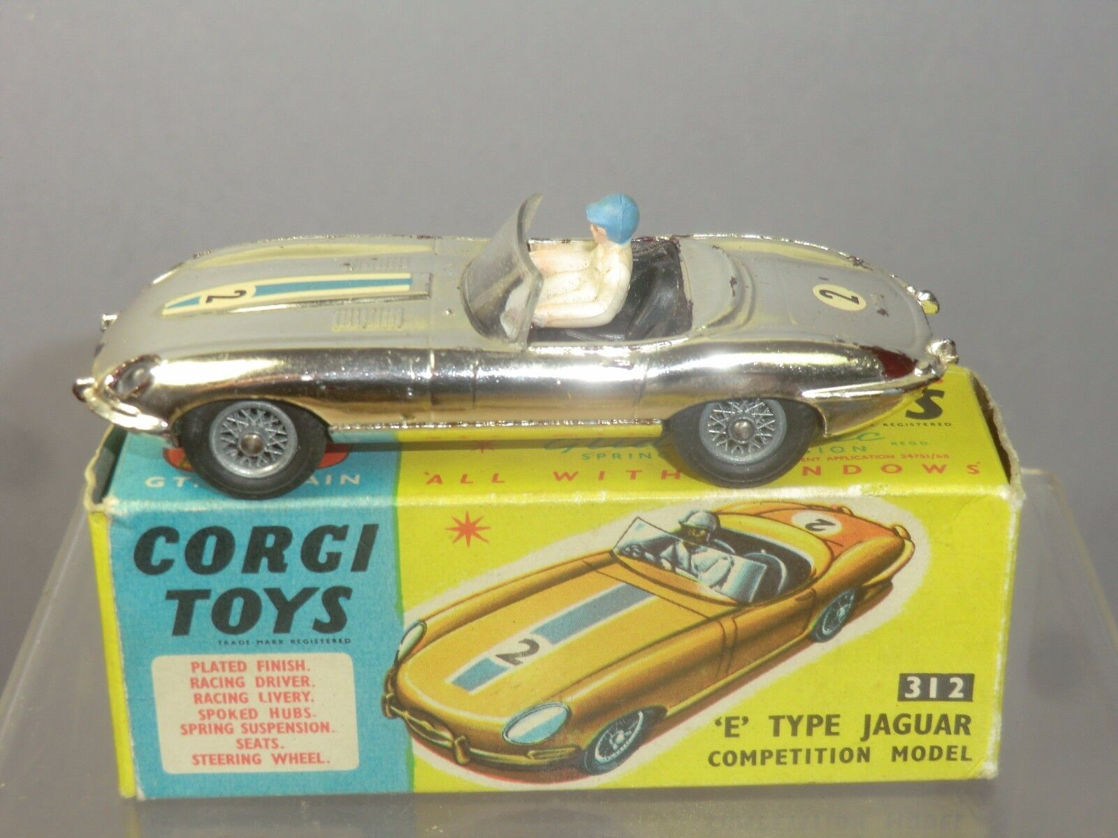 Vintage Corgi Toys Modelo No.312 'e' Type Jaguar VN MIB