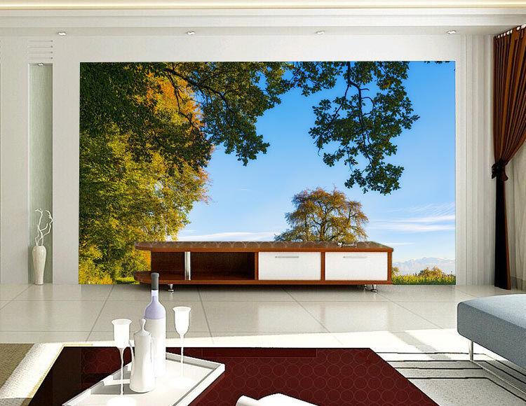 Capturot Tree Blau Sky Grass Full Wall Mural Photo Wallpaper Print Home 3D Decal