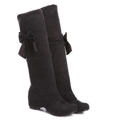Women's Fashion Shoes Faux Suede Bowknot Wedge Heel Knee High Boots US Size b026