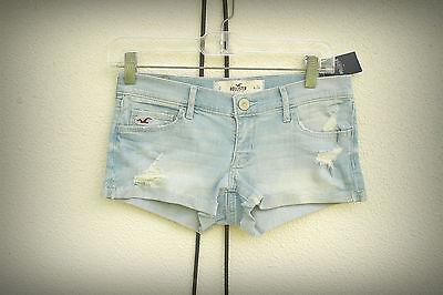 NWT HOLLISTER Hot Mini Denim Short Shorts Distressed Cuffs Light Blue Size 0