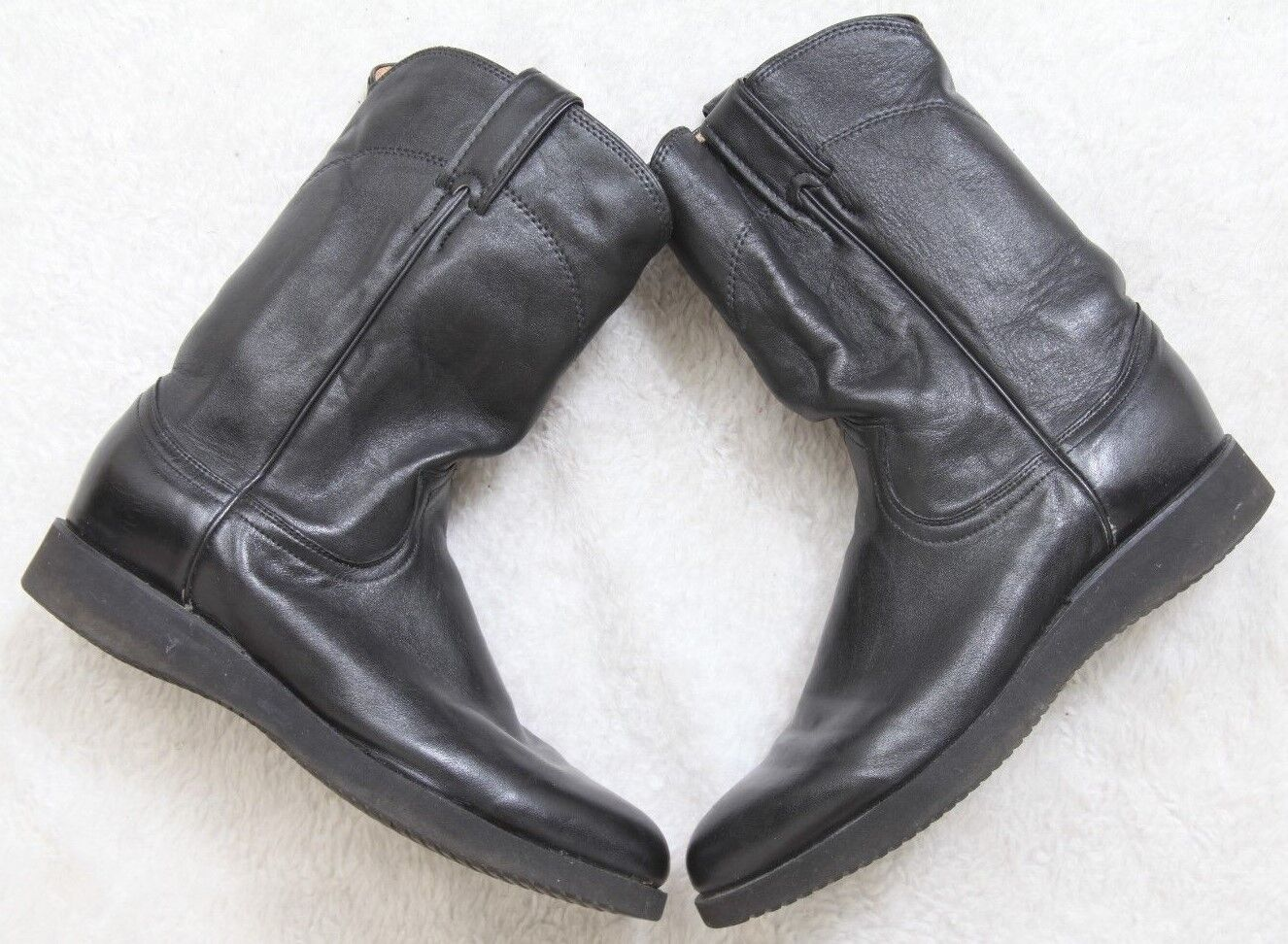 Justin Women's Dress Boots Black Leather Western Size 7.5 Seven 1/2 Vibram Soles