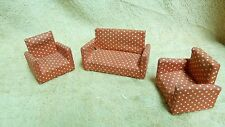 VTG MATCHING RED & WHT DOT SOFA COUCH + 2 CHAIRS DOLLHOUSE MINIATURES #13