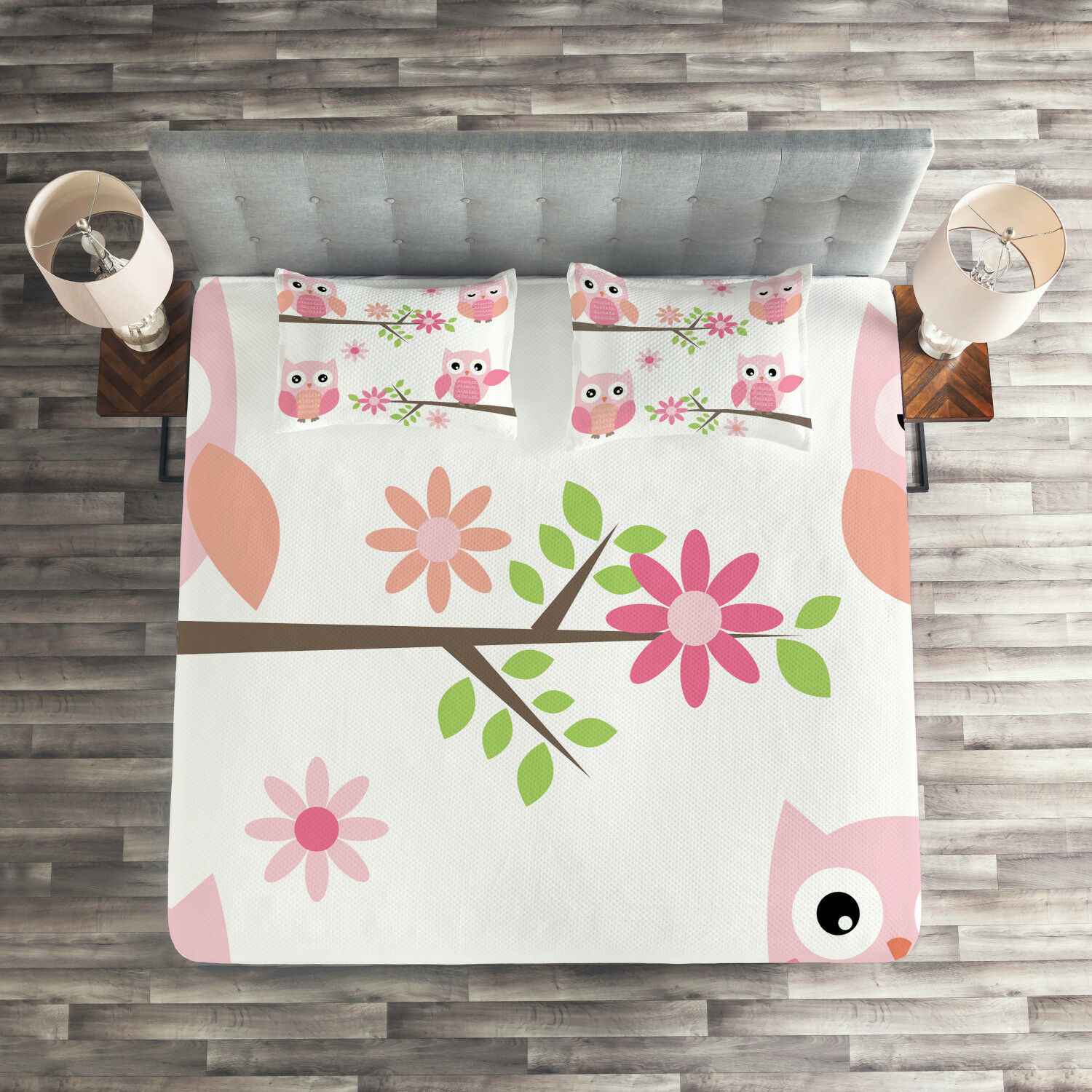 Owl Quilted Coverlet & Pillow Shams Set, Spring Floral Baby Owls Print