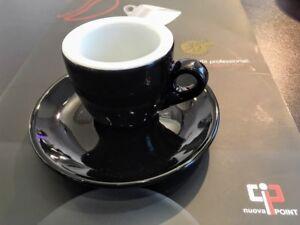 6x-Espressotasse-Nuova-Point-Palermo-dickwandig-Feldspat-mit-Untertasse-schwarz
