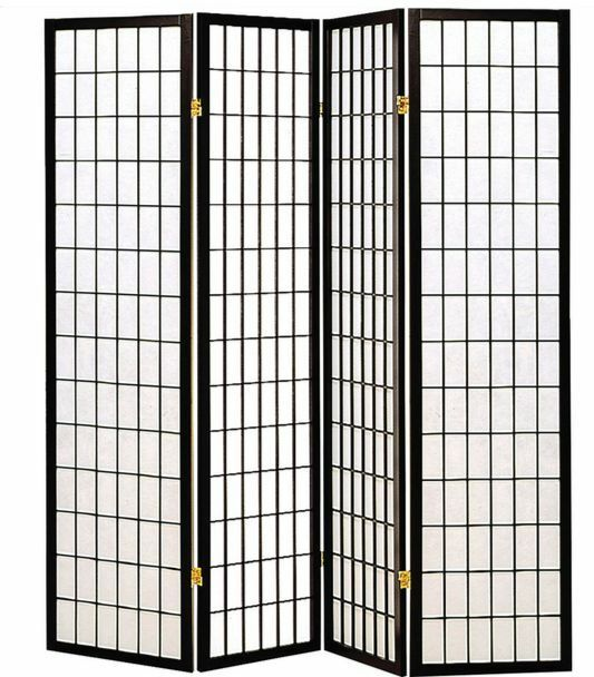 4 Panel Room Divider Oriental Style Wooden Privacy Curtain Screen ...