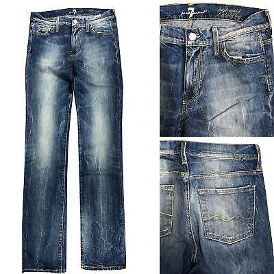 Miele 7 For All Mankind Jeans Donna Pantaloni Gamba Dritta Vita Alta Taglia W28 L34 Nuovo- Giada Bianca