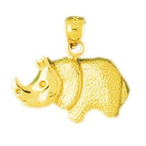 14k-Yellow-Gold-RHINOCEROS-RHINO-Pendant-Charm-Made-in-USA