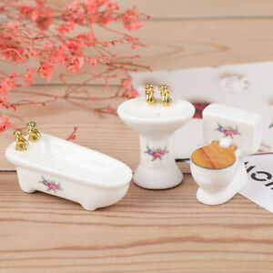3Pcs-1-24-Dollhouse-Miniature-Bathroom-Set-Porcelain-Bathtub-Toilet-Sink-Gr-SJ-F