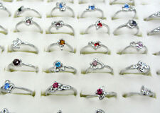 Wholesale 30Pcs/Lots Fashion Jewelry Crystal CZ Rhinestone Silver Plate Rings