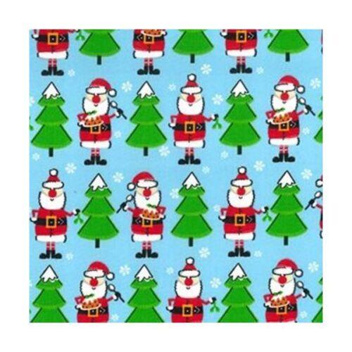 Blue Santa Christmas Tree Polycotton 112cm Wide Sold @ £2.64 per mtr.