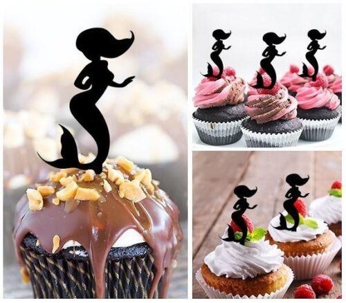 pour anniversaire Mariage Pack De 10 babyshower Mermaid cupcakes /& cake topper