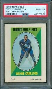 1970-Topps-O-Pee-Chee-Hockey-Sticker-Stamps-WAYNE-CARLETON-Maple-Leafs-PSA-8