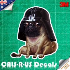 Dog Pug Vader (Darth) Decal Sticker - Car Luggage Skateboard. 3M Film. 100mm.