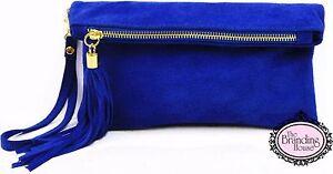 ladies-royal-blue-suede-tassel-clutch-bag-with-shoulder-strap