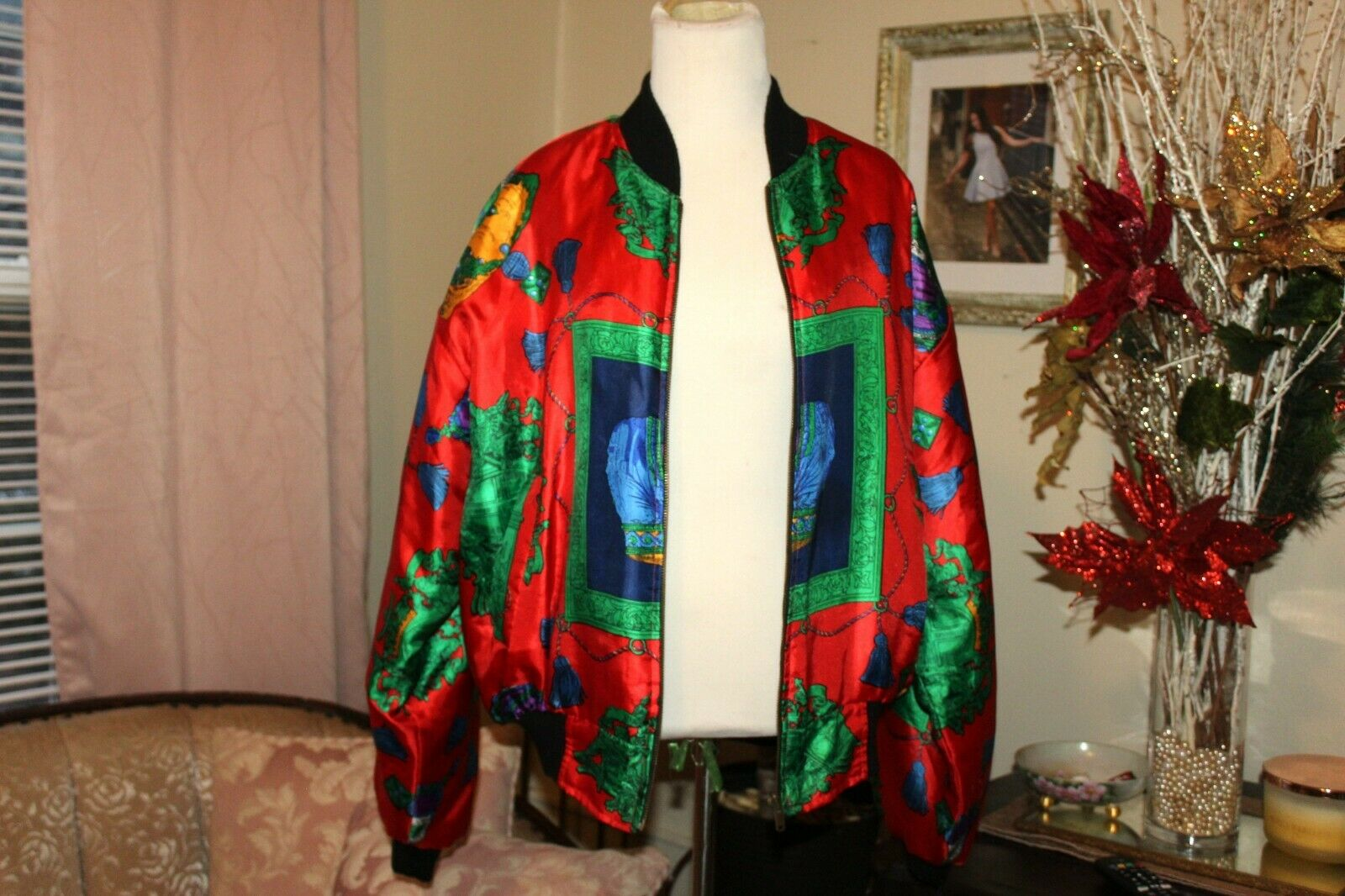 VINTAGE 1980's RED GREEN HOLIDAY SILK PUFF SLEEVE… - image 5