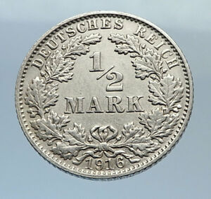 1916-WILHELM-II-of-GERMANY-1-2-Mark-Antique-German-Silver-Coin-Eagle-i71646
