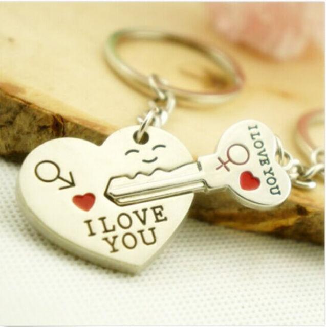 Valentine's Day Surprise Gift I lOVE You Key Heart Keychain Keyring Set GA