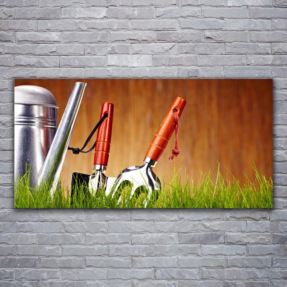 Wandbilder Glasbilder Druck auf Glas 120x60 Gießkanne Gras Kunst