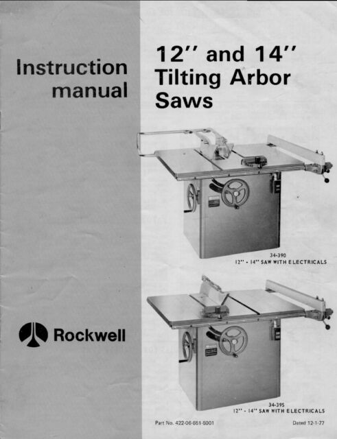 Rockwell 10-inch Contractors Saw Instruction /& Maintenance Manual