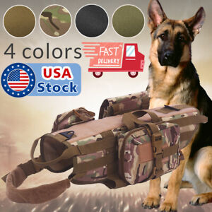 Tactical-Dog-Hunting-Training-K9-Molle-Vest-Harness-OR-3-Detachable-Pouch-Bag