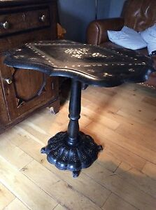 Victorian-Black-Lacquer-Country-House-Papier-Mache-Snap-Top-Table-Barn-Find