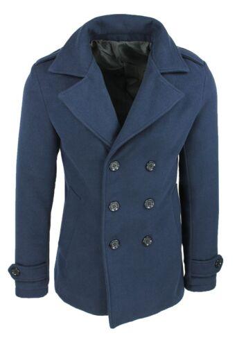 Mantel Herren Diamant Winter Blau Slim Fit Mantel Jacke 100/% Made in Italy