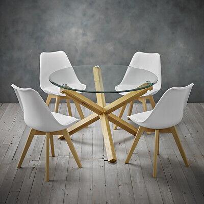Pleasing Oporto Solid Oak And Glass Dining Table Round Medium 106 5Cm Criss Cross Legs Ebay Uwap Interior Chair Design Uwaporg
