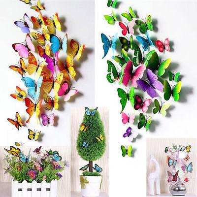 3D Schmetterlinge Blumen 12er Set Dekoration Wandtattoo Wandsticker Wanddeko.