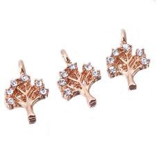 100pcs Bulks Gold Plated Rhinestone Paved Hollow Tree  Alloy Pendants Charms D