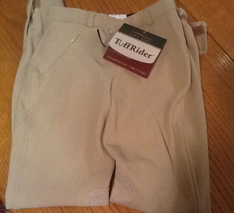 JPC Let's Ride Tuff Rider 24R Front Zip Knee Patch Breeches LOWRISE Lt. Tan
