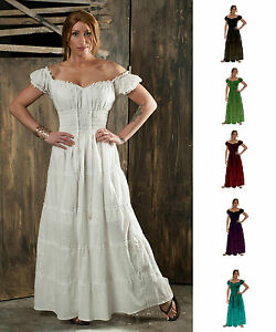 RENAISSANCE-PIRATE-PEASANT-WENCH-COSTUME-MEDIEVAL-BOHO-100-COTTON-GOWN-SUN-DRESS