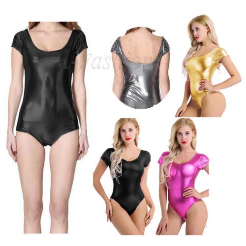 Women Shiny Ballet Leotard Bodysuit Metallic Leotard Dance Top Shirt Clubwear