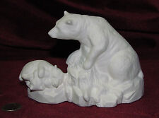 Ceramic Bisque Bear and 2 Babies on a rock Ready to Paint U Paint Wildlife