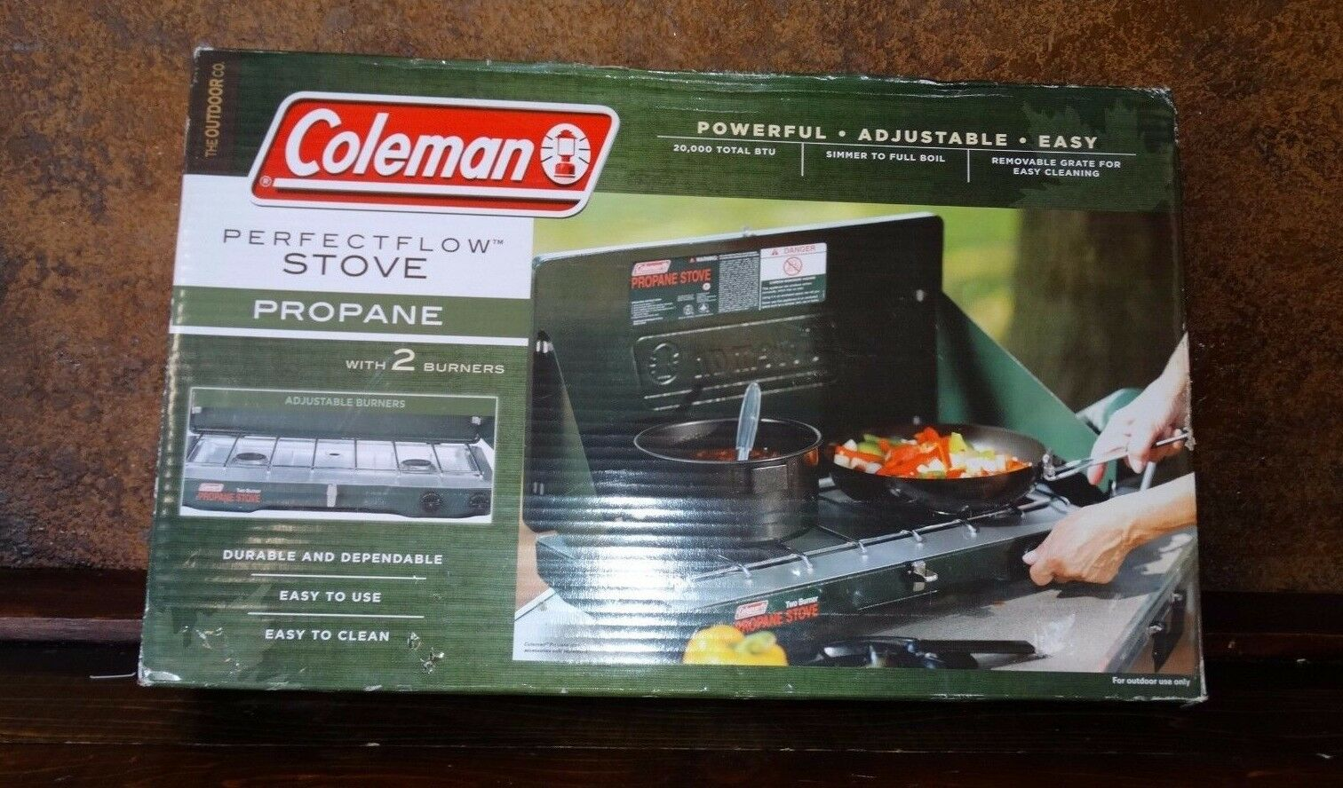 19173 NEW in BOX Coleman 2 Burner Propane STOVE  Portable Camping 20,000 btu
