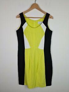 Veronika Maine Colour block Sheath Corporate Party Dress Women's Size 12 AU MADE