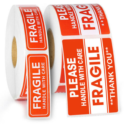 1000Pcs Fragile Sticker and Handle With Care For Shipping Mailing Handle Sticker