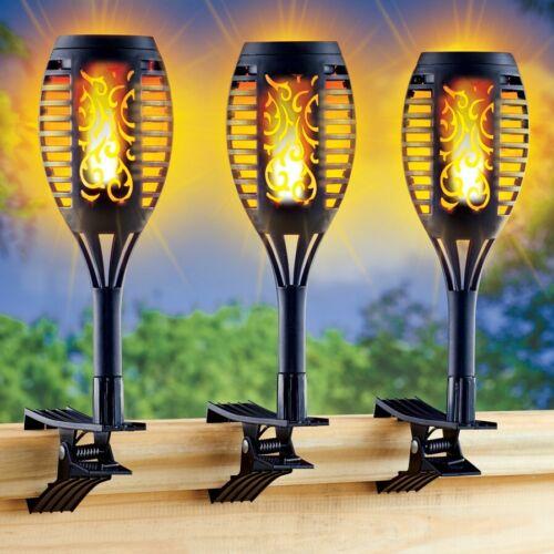 Set of 3 Solar Dancing Faux Flame Clip-On Porch Railing Fence Garden Lights
