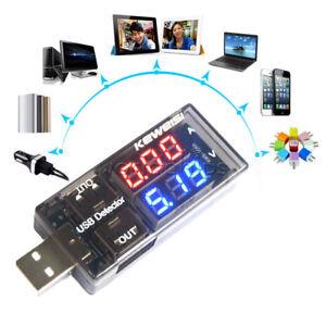 CARICABATTERIE-USB-corrente-tensione-rivelatore-di-carica-batteria-VOLTMETRO-AMPEROMETRO-ROSSO-BLU