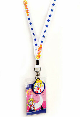 Sailor Moon White Lanyard Necklace Keychain Charm Neck Strap ID Badge Holder NEW