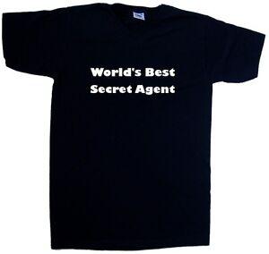Details about World's Best Secret Agent V Neck T Shirt