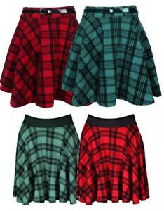 Womens Check Tartan Print Elasitcated Waist Short Mini Skater Flippy Skirt 8-14