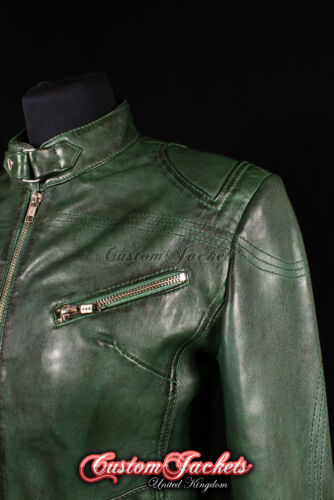 RUSH Ladies Leather Jacket Green Slim Fit Real Lamb Leather Biker Girl Jacket