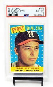 1958-Topps-All-Star-HOF-Braves-EDDIE-MATHEWS-Vintage-Baseball-Card-PSA-6-EX-MT