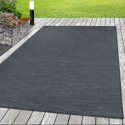 Outdoor außen Flachgewebe Uni Grau Schwarz meliert Sisal Teppich Indoor innen