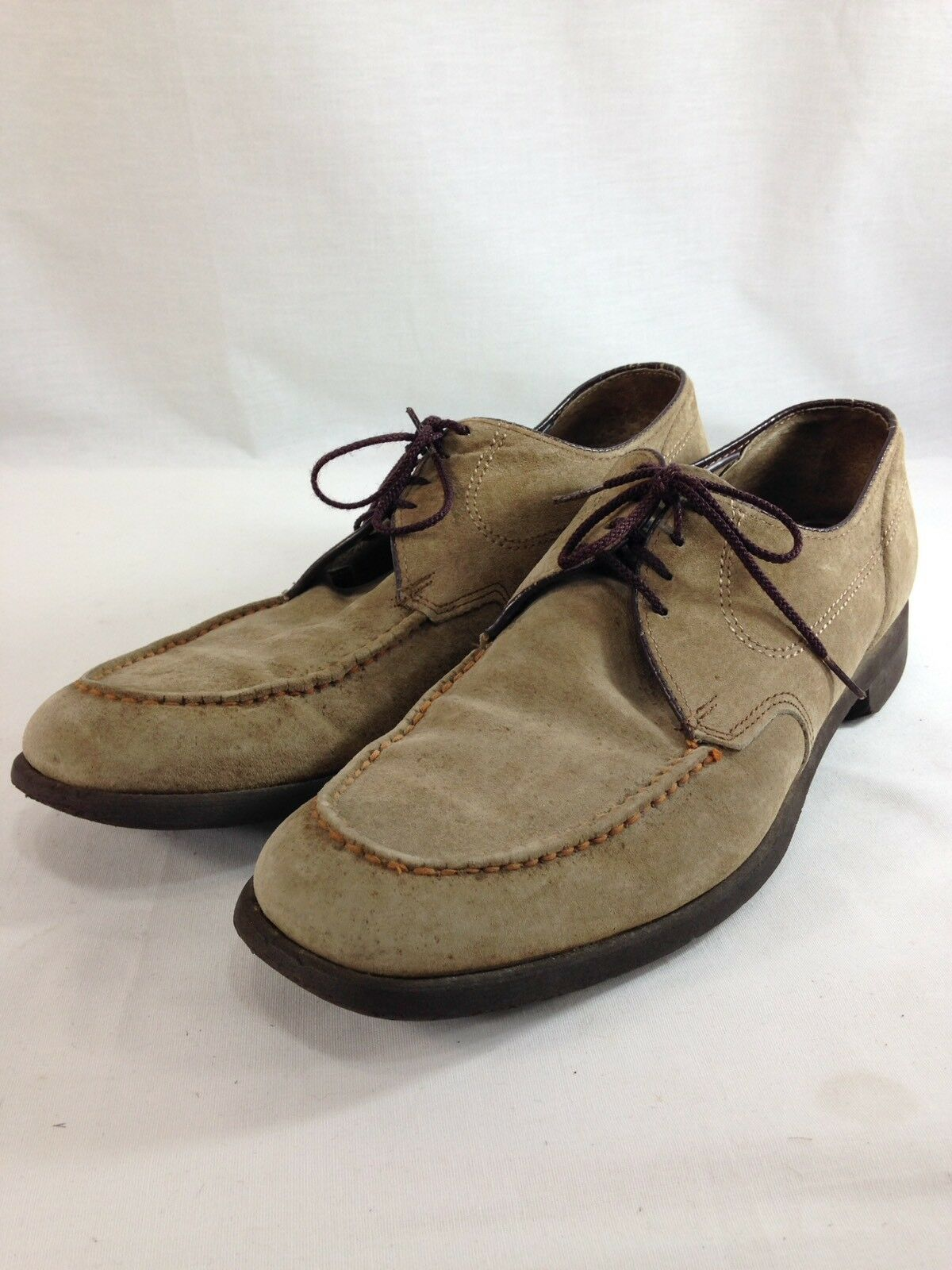 VTG Hush Puppies shoes Loafers Mens 12 Brown Suede Leather Lace Up Moc Toe
