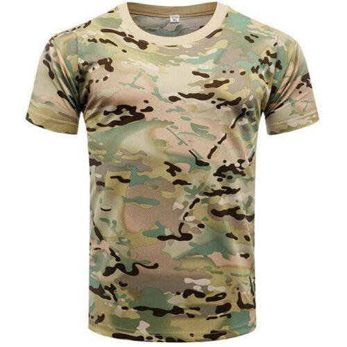 Men Boys Tactical Army Military Camouflage Tee Camo Combat Short Sleeve T-Shirts