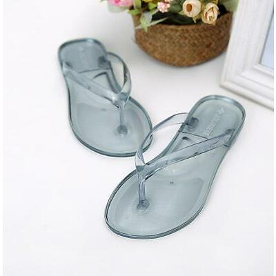 Hot Sale Women's Flip Flops Transparent Slippers Sandals Waterproof Flat Shoes